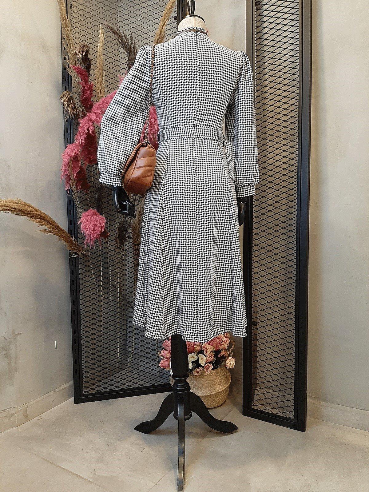 Kazayağı Desen Uzun Elbise