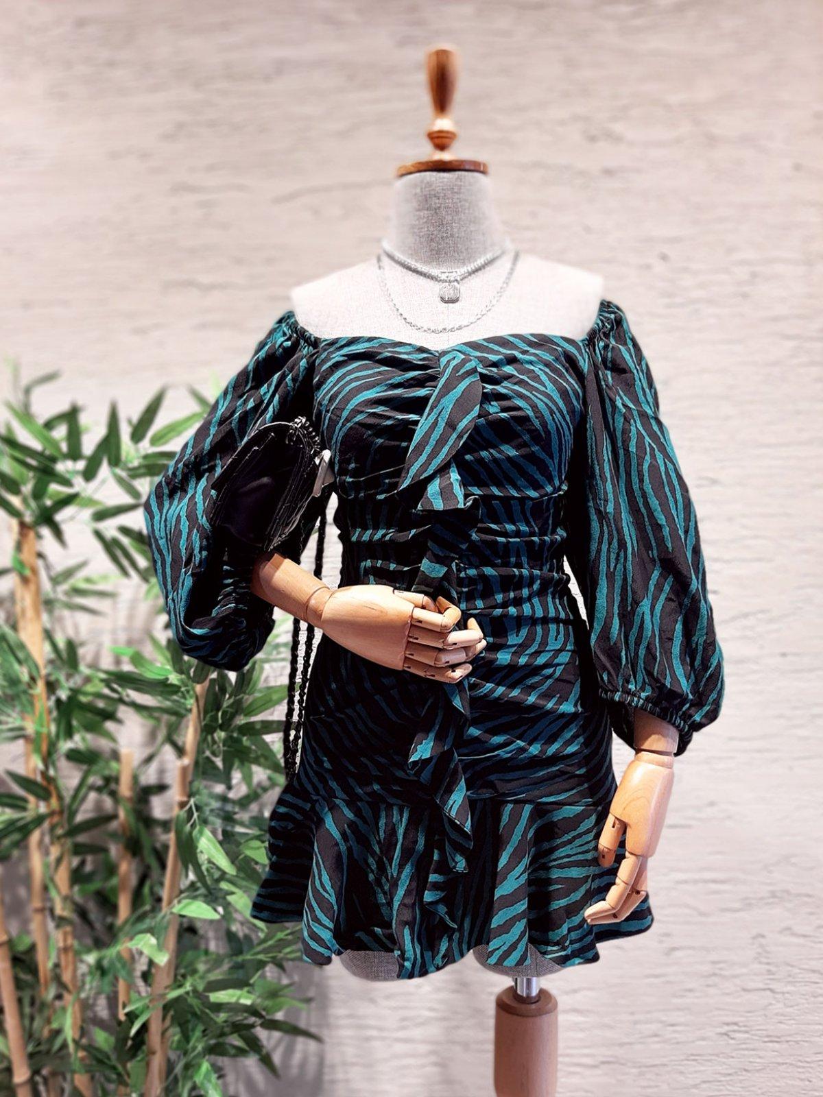Çizgili Drape Elbise