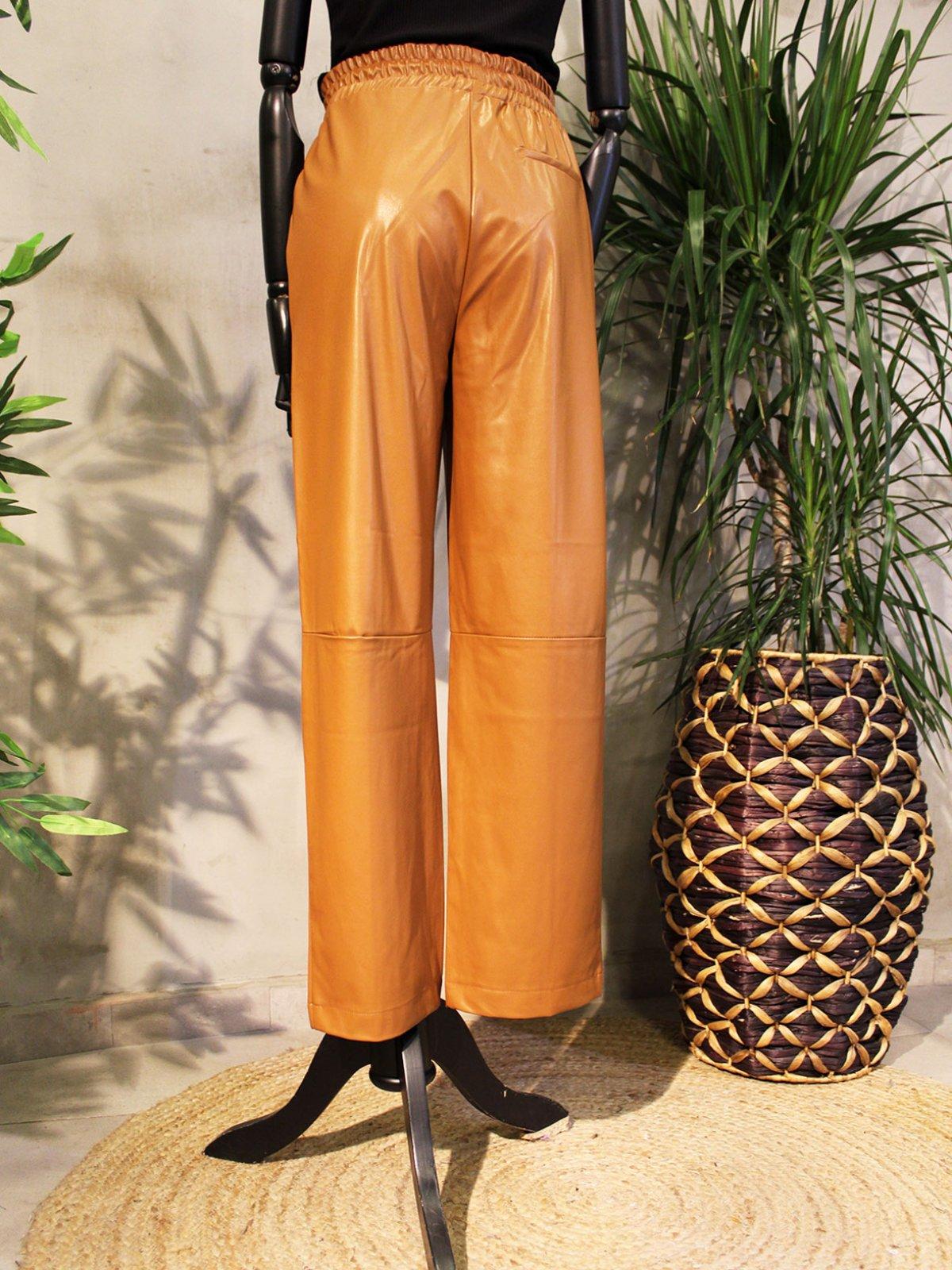 Beli Lastikli Deri Pantolon