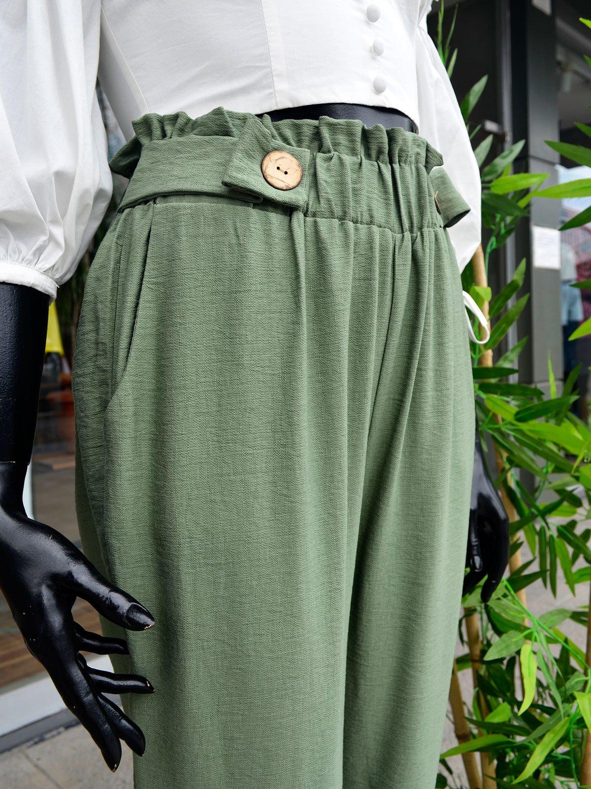 Düğme Detaylı Havuç Pantolon