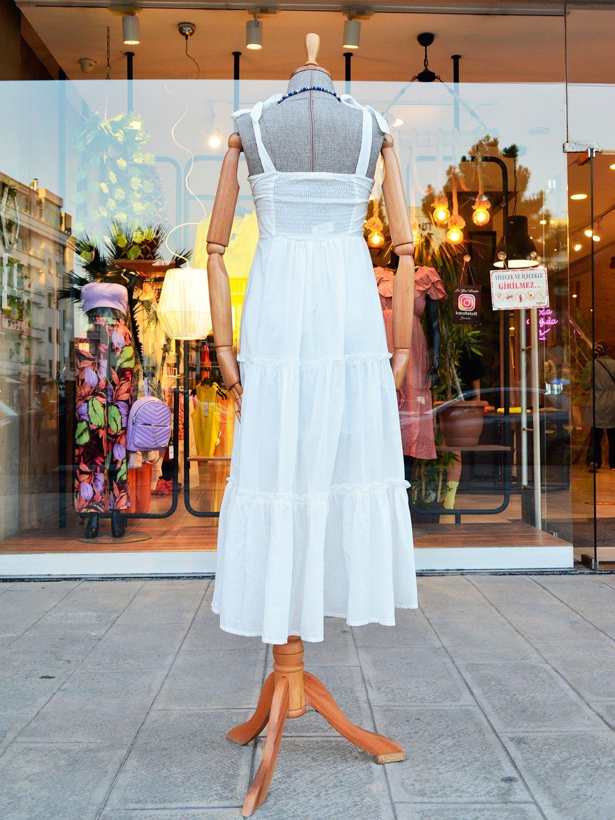 Önü Dantelli Askılı Elbise