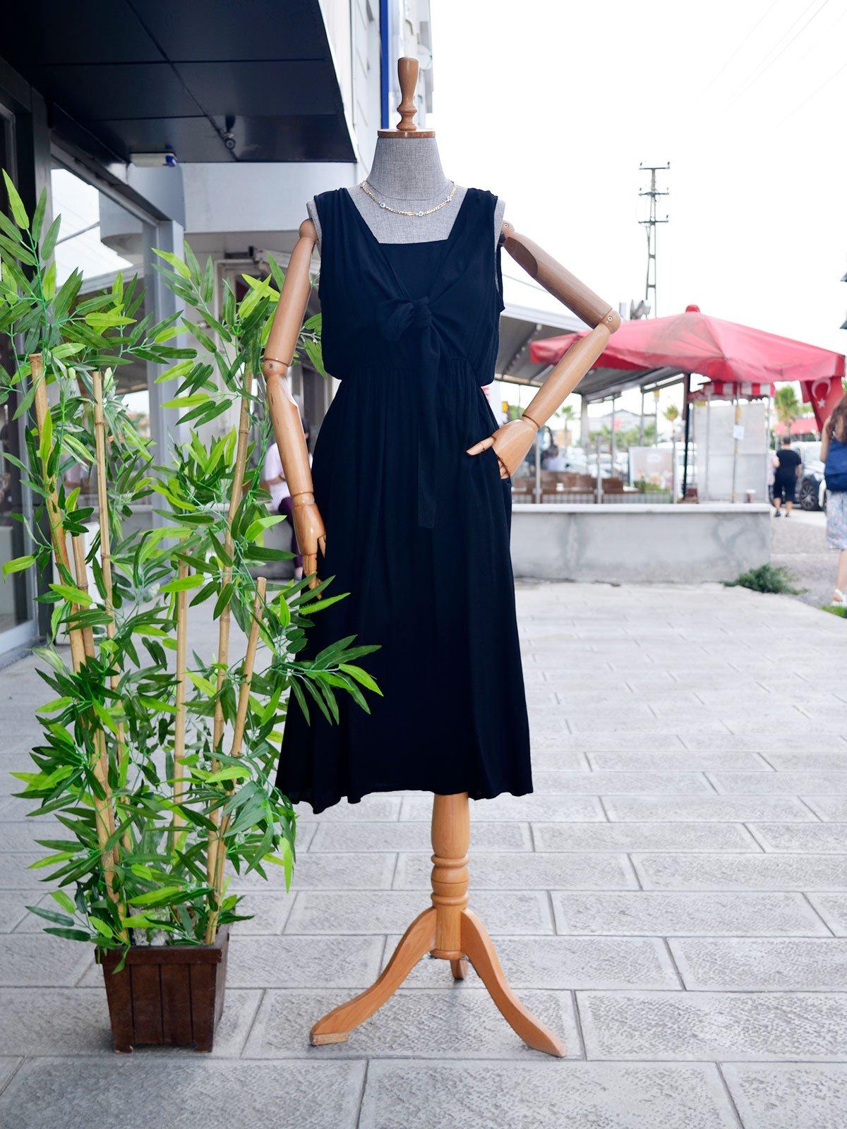 Önü 2 Kat Bağlamalı Elbise